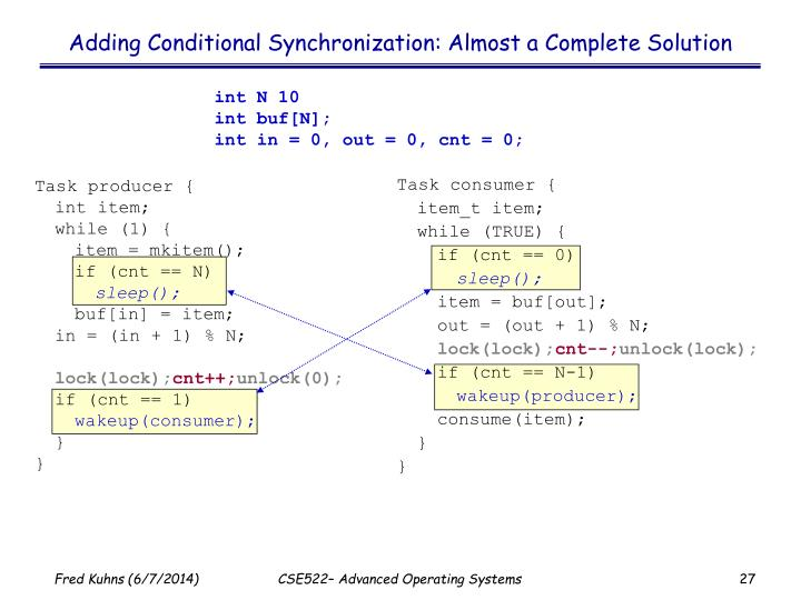 Adding Conditional Synchronization: Almost a Complete Solution