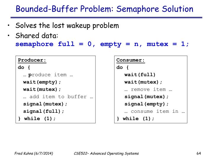 Bounded-Buffer Problem: Semaphore Solution