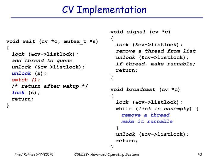 CV Implementation