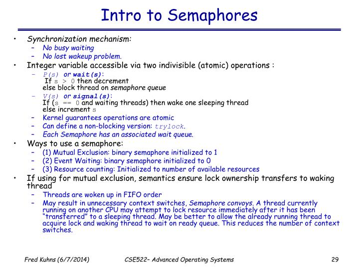 Intro to Semaphores