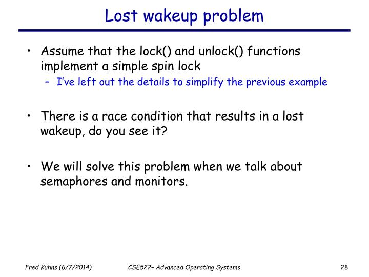 Lost wakeup problem