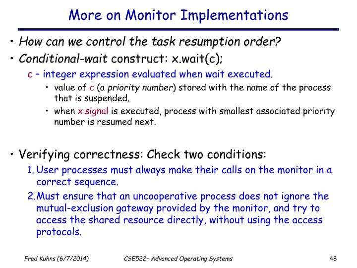 More on Monitor Implementations