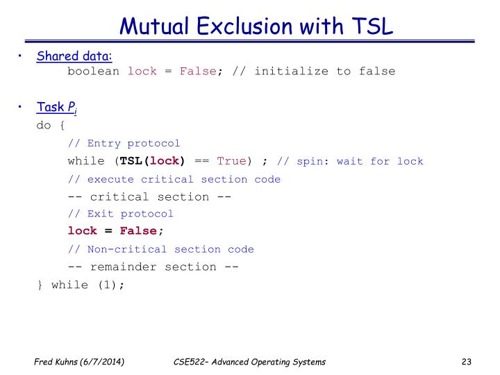 Mutual Exclusion with TSL