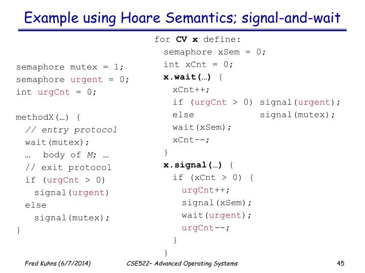 Example using Hoare Semantics; signal-and-wait
