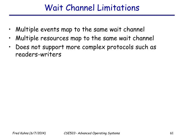 Wait Channel Limitations