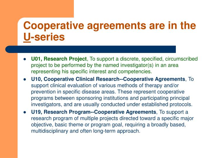 Cooperative agreements are in the