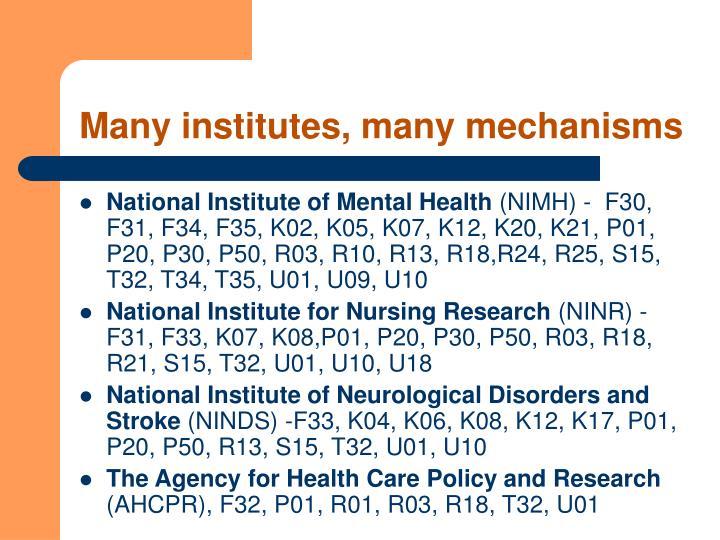 Many institutes, many mechanisms