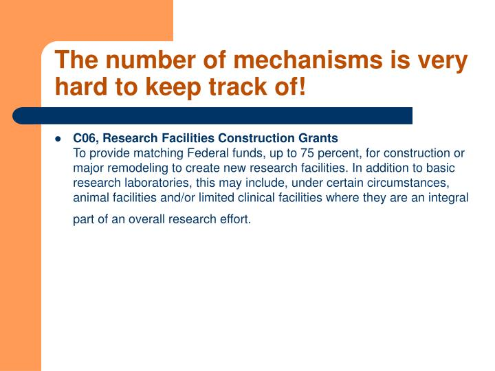 The number of mechanisms is very hard to keep track of
