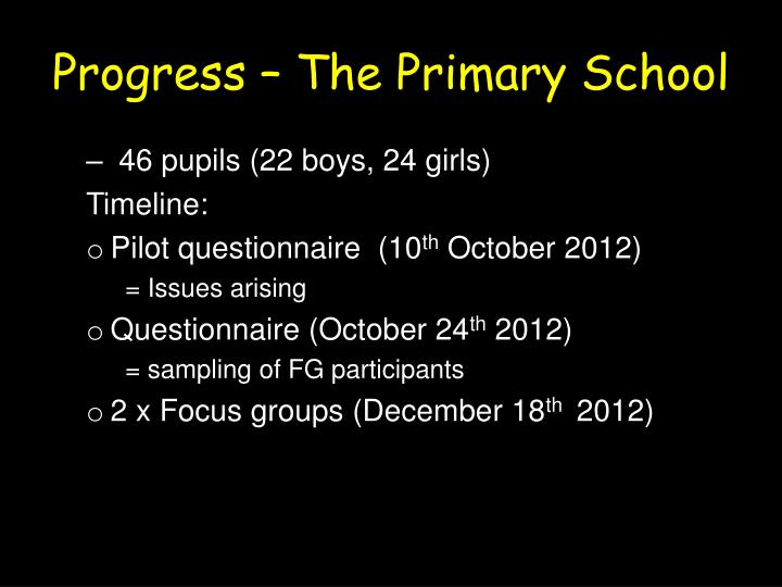 Progress – The Primary School
