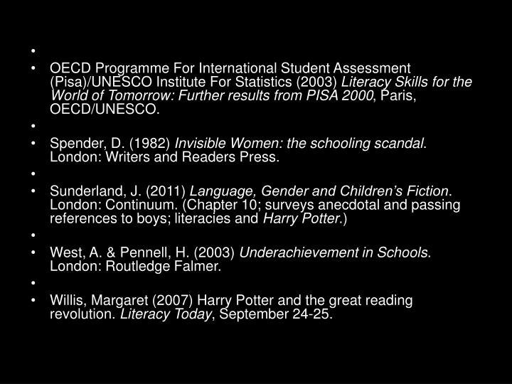 OECD Programme For International Student Assessment (Pisa)/UNESCO Institute For Statistics (2003)