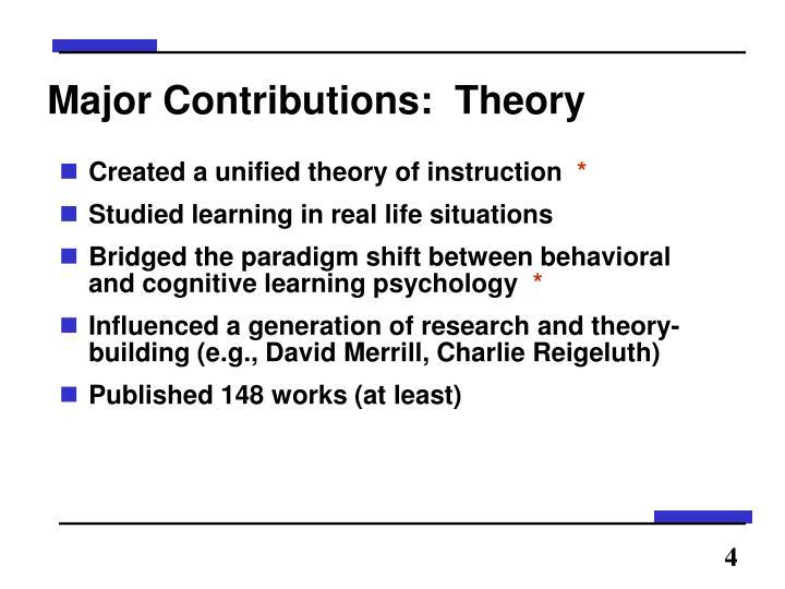 Major Contributions:  Theory
