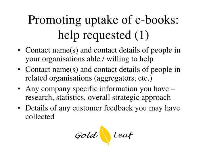 Promoting uptake of e-books: help requested (1)