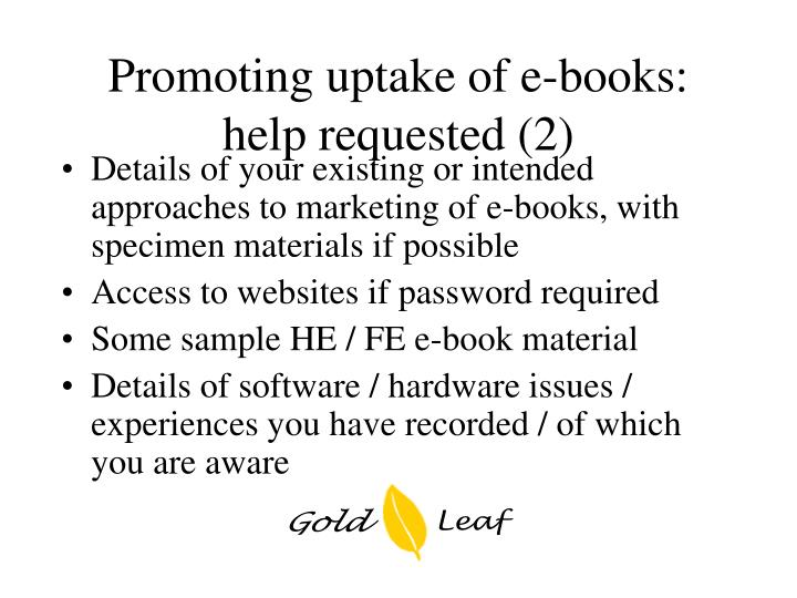 Promoting uptake of e-books: help requested (2)
