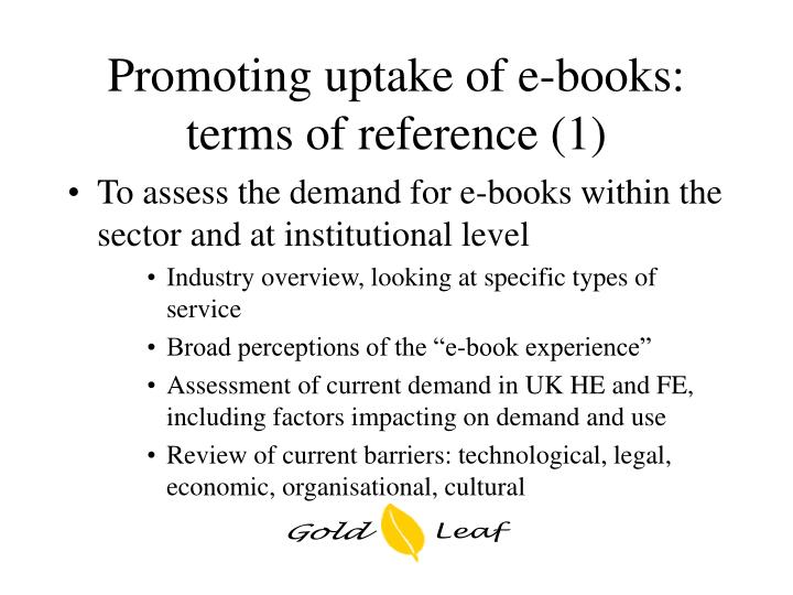 Promoting uptake of e-books: terms of reference (1)