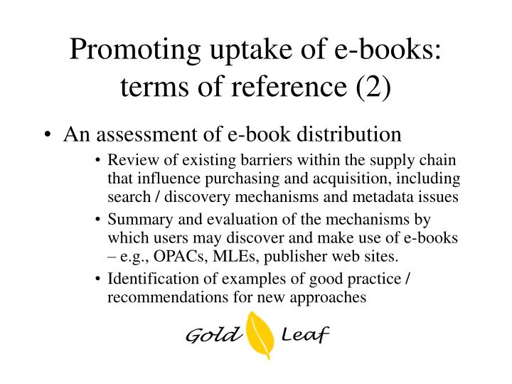Promoting uptake of e-books: terms of reference (2)