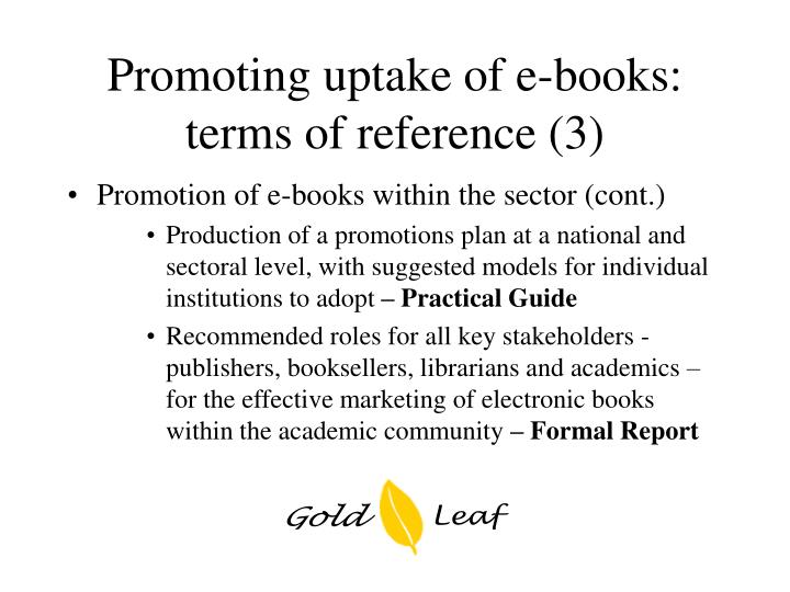 Promoting uptake of e-books: terms of reference (3)