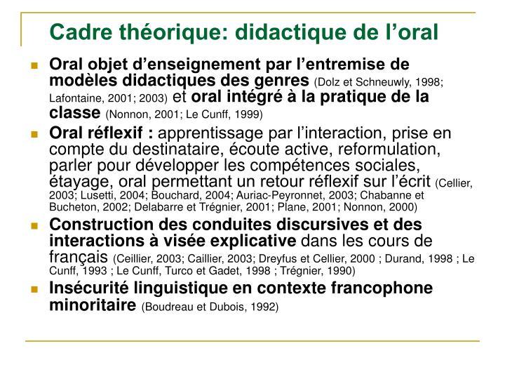 Cadre théorique: didactique de l'oral