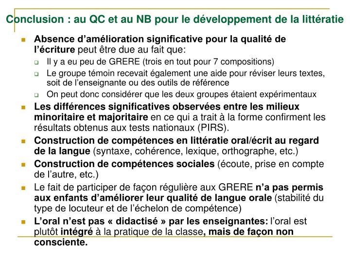 Conclusion : au QC et au NB pour le développement de la littératie