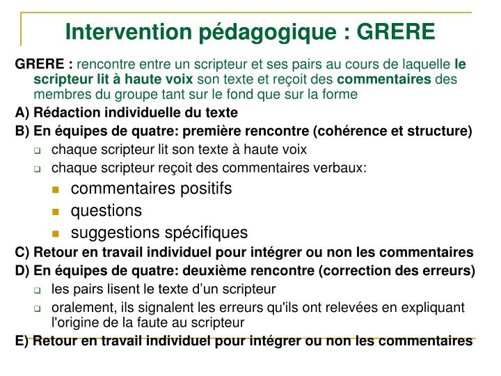 Intervention pédagogique : GRERE