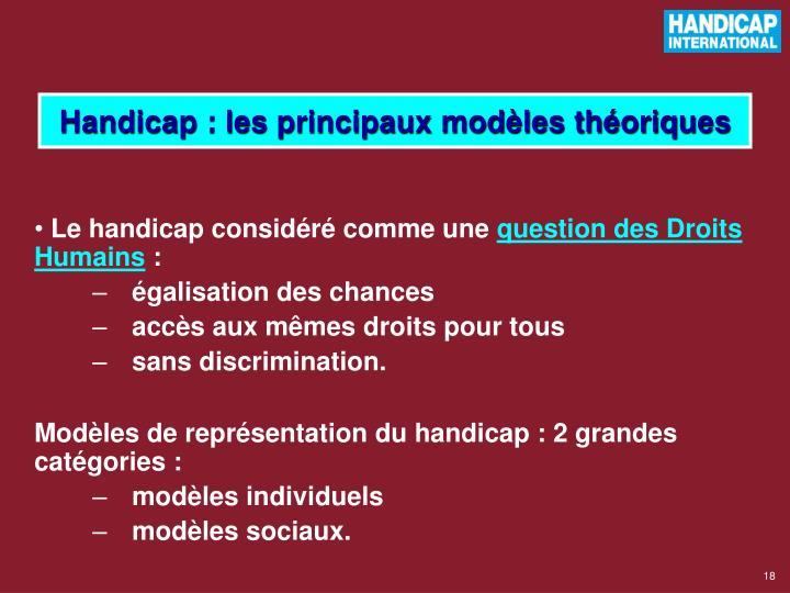 Handicap : les principaux modèles théoriques