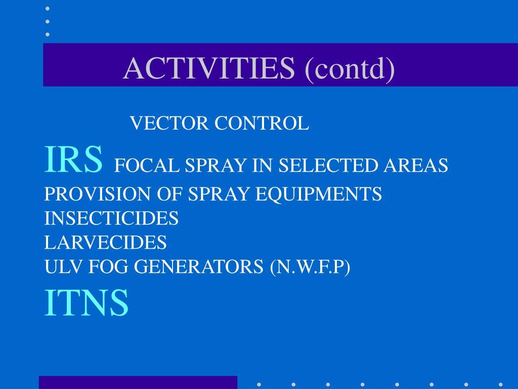 ACTIVITIES (contd)