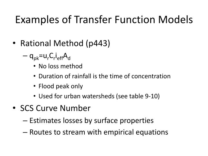 Examples of Transfer Function Models
