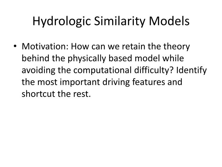 Hydrologic Similarity Models