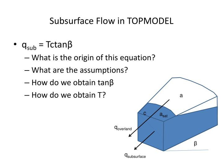 Subsurface Flow in TOPMODEL