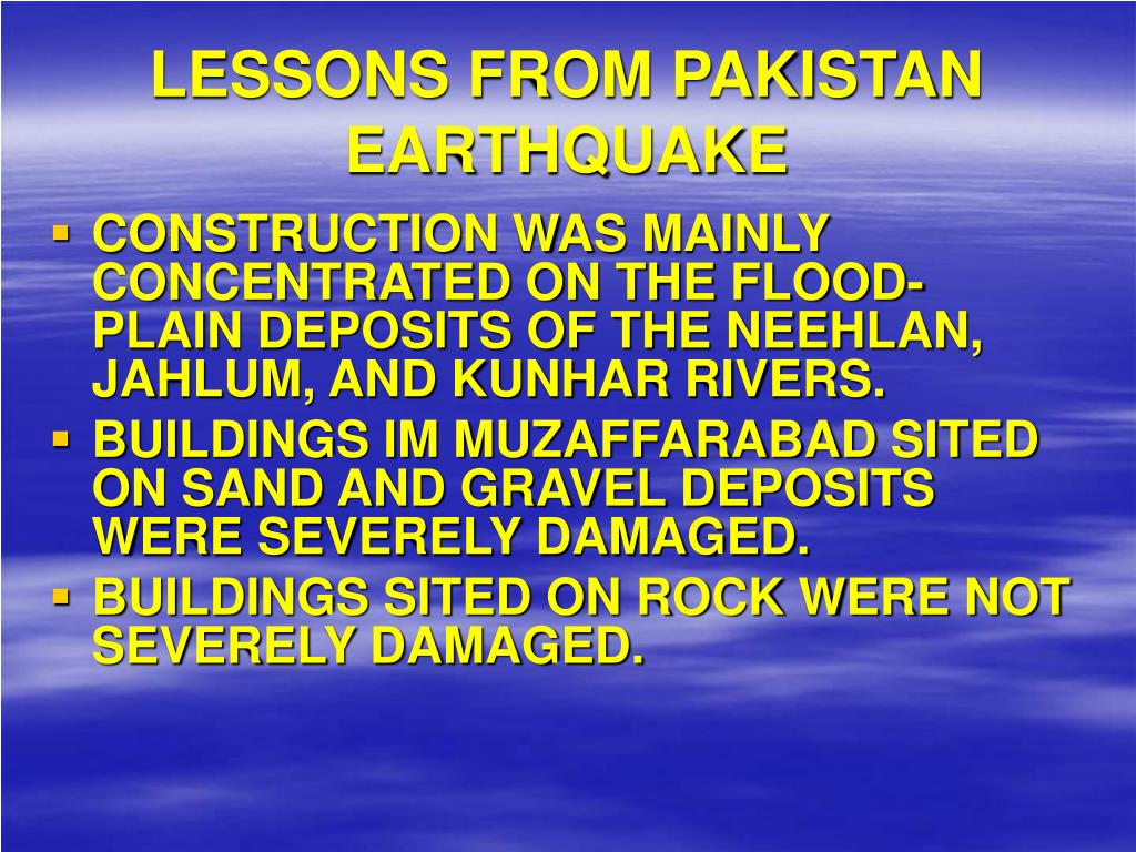 LESSONS FROM PAKISTAN EARTHQUAKE