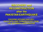 recovery and reconstruction after the pakistan earthquake