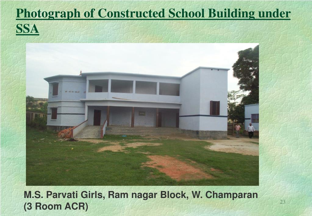 Photograph of Constructed School Building under SSA