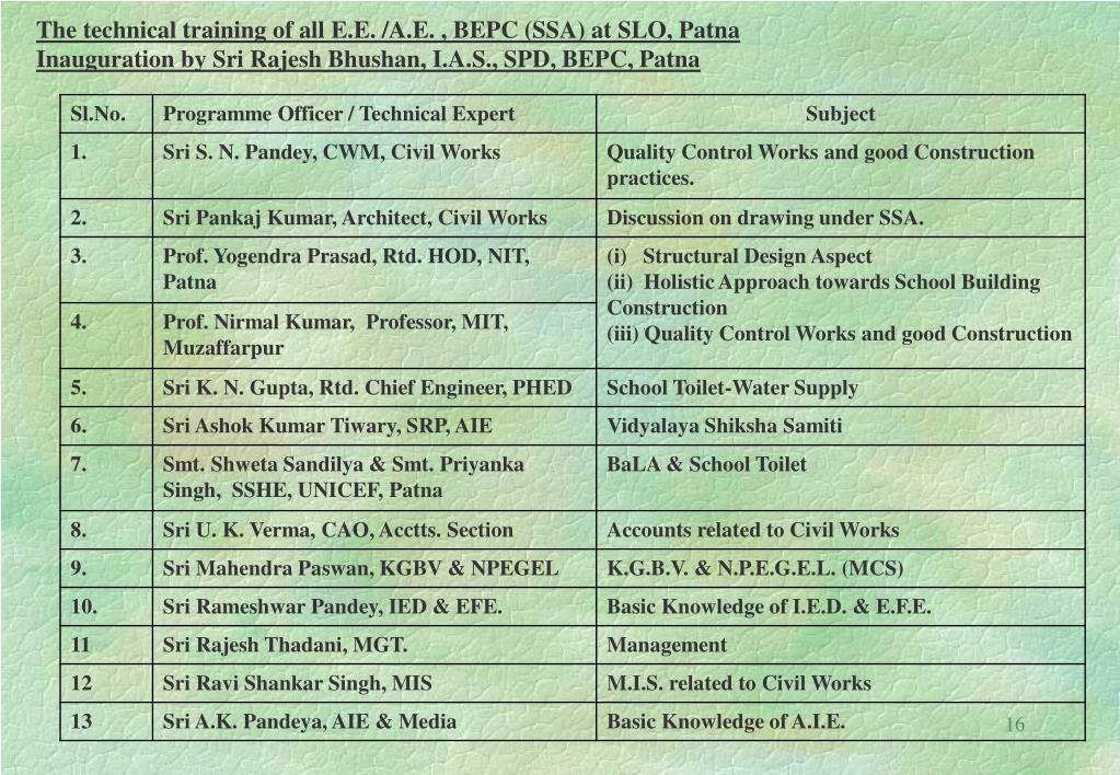 The technical training of all E.E. /A.E. , BEPC (SSA) at SLO, Patna