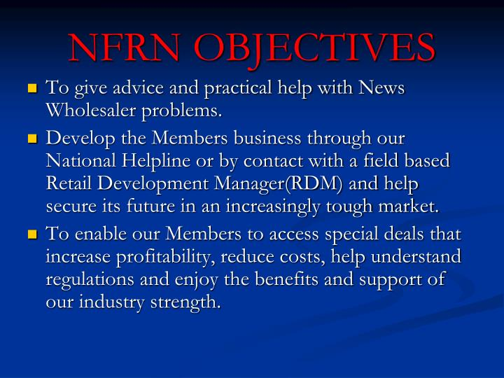 Nfrn objectives