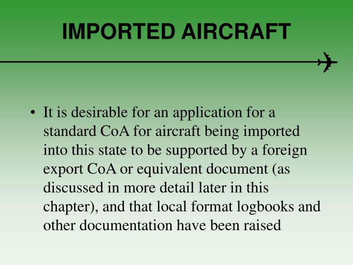 IMPORTED AIRCRAFT