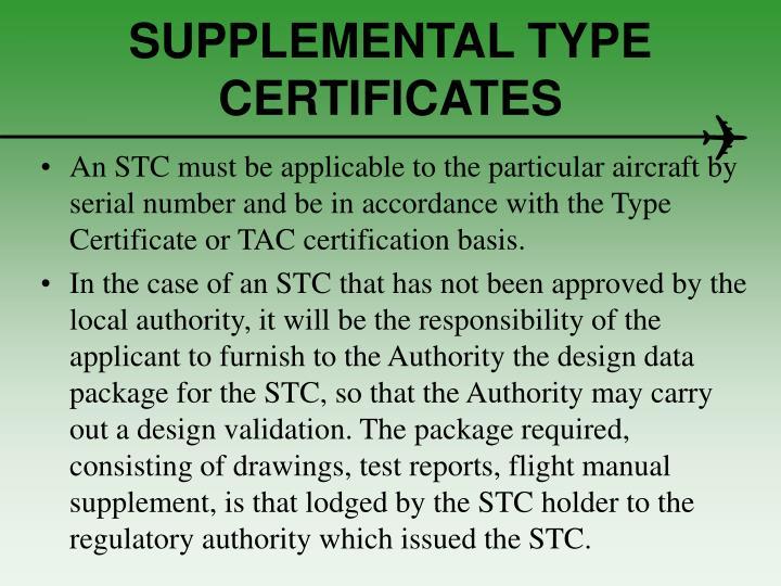 SUPPLEMENTAL TYPE CERTIFICATES