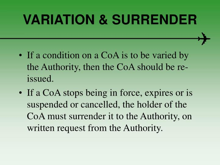 VARIATION & SURRENDER