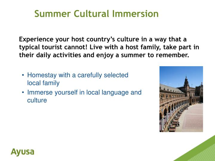 cultural immersion activity We offer summer study programs in england and enjoy an array of extracurricular activities from a shakespeare a language immersion program for students with.