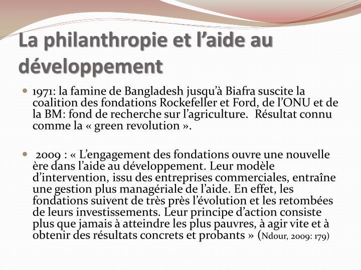 La philanthropie et l'aide au développement