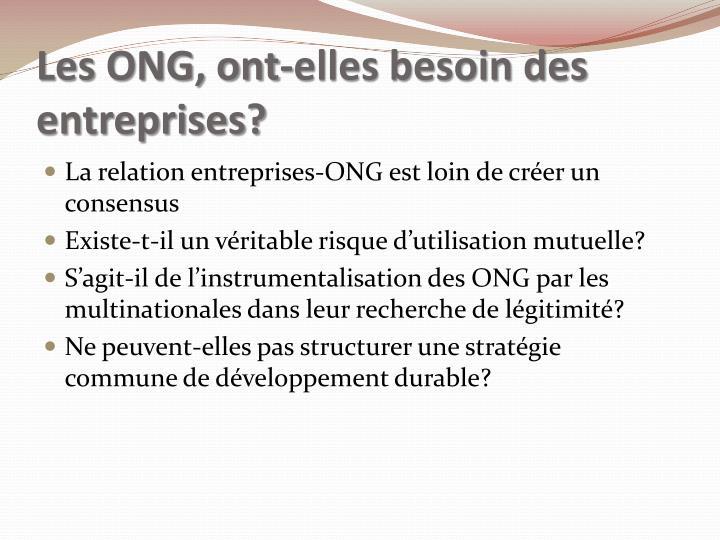 Les ONG, ont-elles besoin des entreprises?