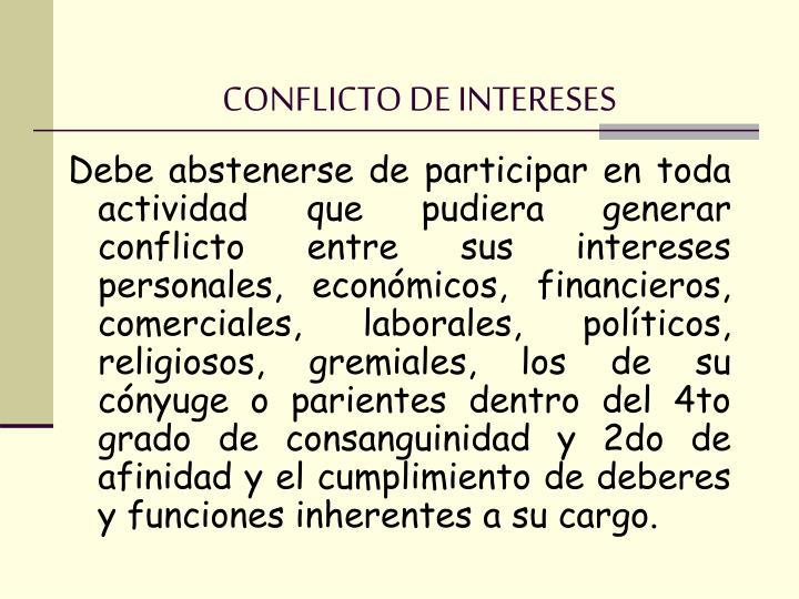 CONFLICTO DE INTERESES