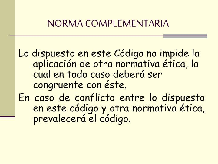 NORMA COMPLEMENTARIA