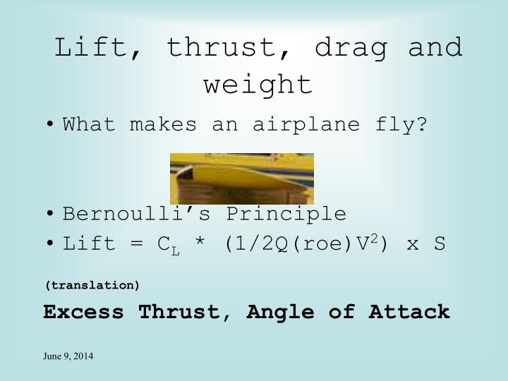 Lift, thrust, drag and weight