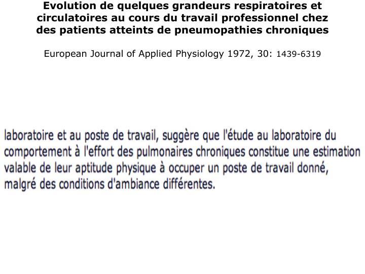 Evolution de quelques grandeurs respiratoires et circulatoires au cours du travail professionnel chez des patients atteints de pneumopathies chroniques