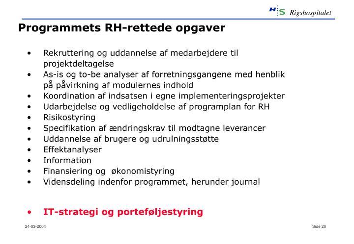 Programmets RH-rettede opgaver
