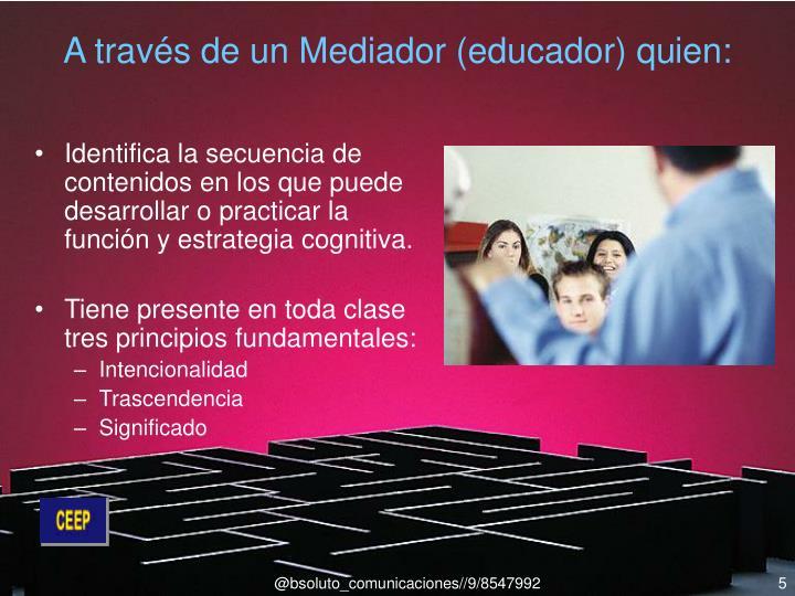 A través de un Mediador (educador) qu