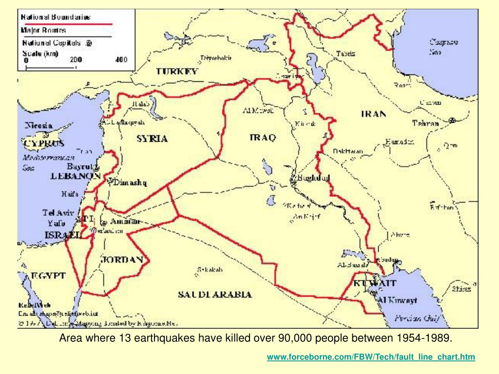 Area where 13 earthquakes have killed over 90,000 people between 1954-1989.