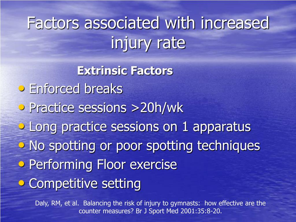 Factors associated with increased injury rate
