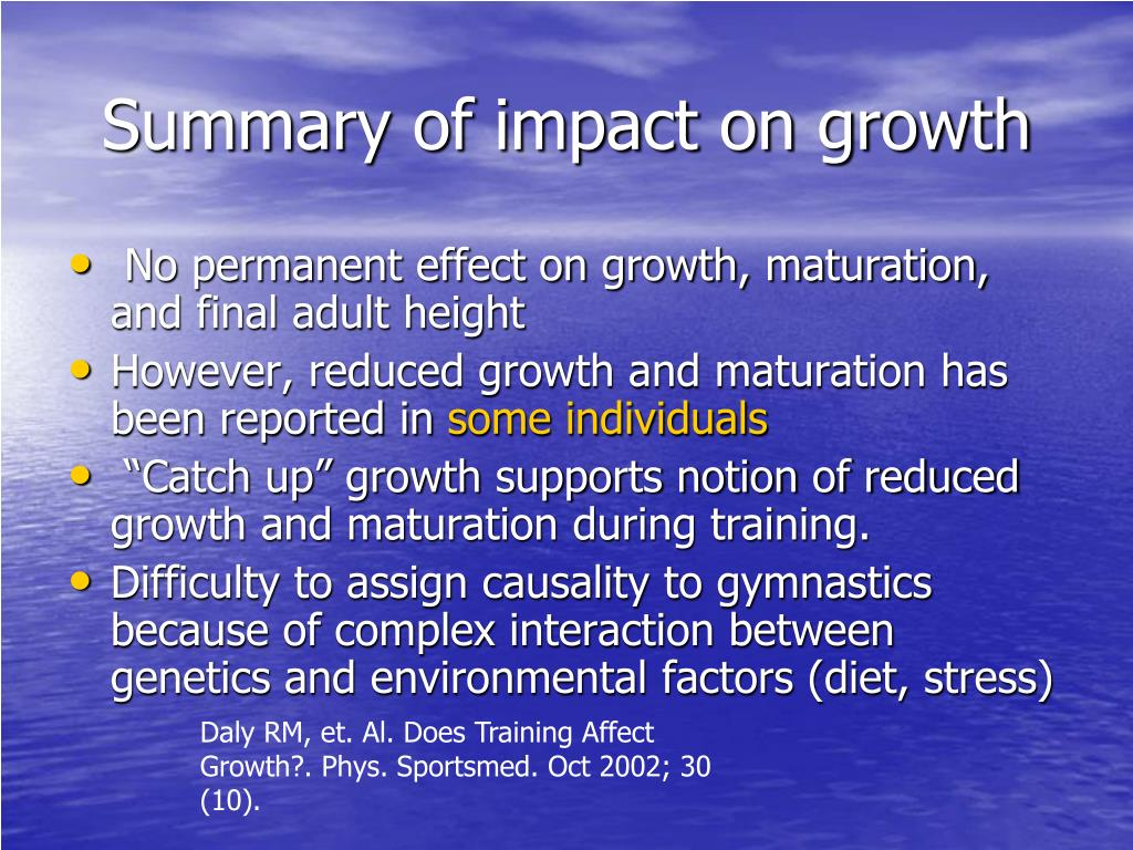 Summary of impact on growth