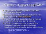 summary of impact on growth