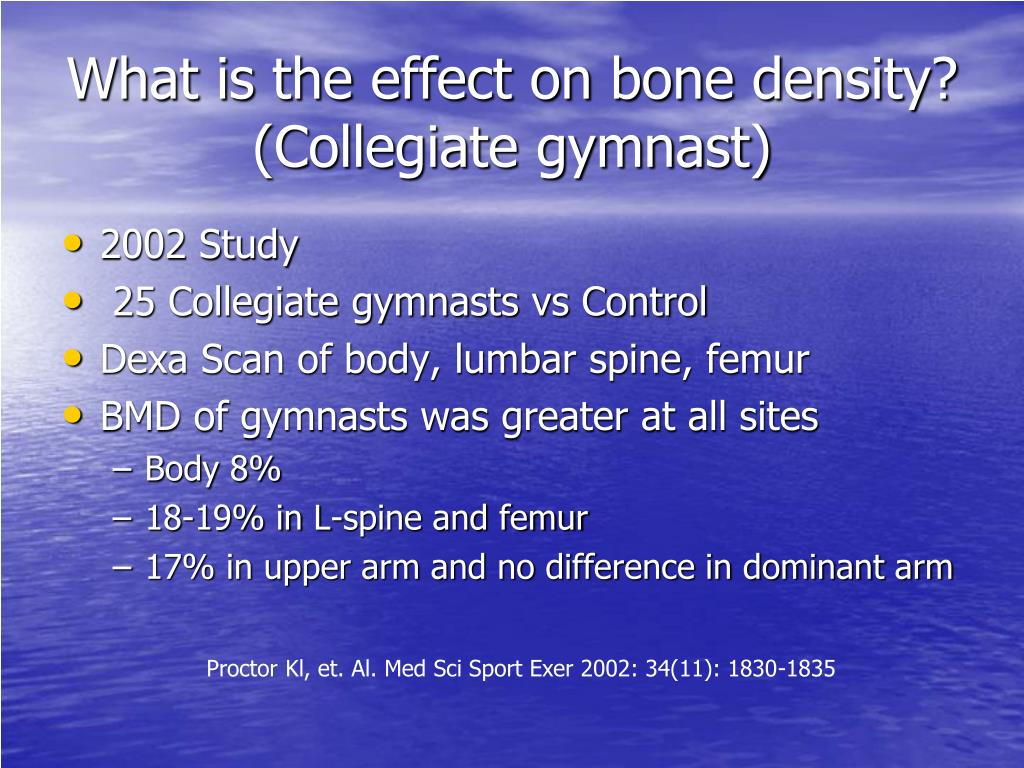 What is the effect on bone density? (Collegiate gymnast)